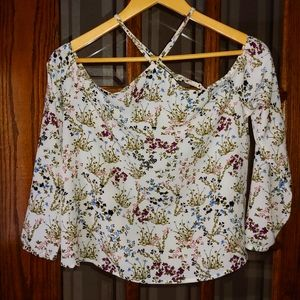 Garage, floral, criss cross, off the shoulder blouse, size small